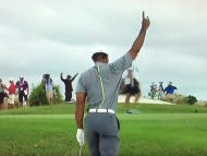 Tiger Out Here Draining Bunker Shots And Charging Up The Leaderboard
