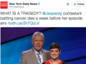 NY Daily News Makes Twitter Joke About the Jeopardy Contestant Who Died Before Her Show Aired
