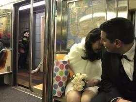 This Picture Of A Newlywed Couple On The Subway Watching A (Homeless?) Couple Bang On The Platform Shows The Duality Of Love