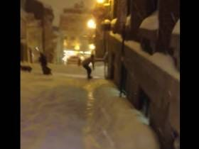 Canadian Dude Snowboards Through Quebec City. Obviously Gets Hit By A Car.
