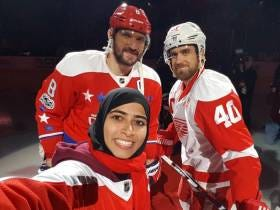 Fatima Did The Ceremonial Faceoff At The Caps Game Tonight And Took The Coolest Selfie Ever