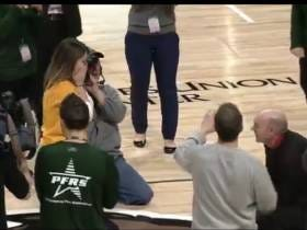 Girl At Siena Game Hits Halfcourt Shot During Halftime Contest, Immediately Gets Proposed To By Boyfriend