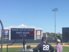 Gary Sanchez Crushed A Home Run Off The Scoreboard In Batting Practice