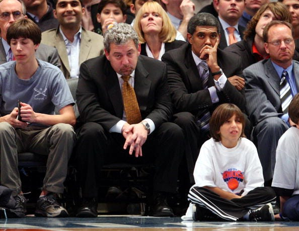 New York Knicks' owner (2nd left) James Dolan is seated next