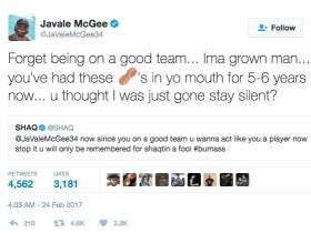 JaVale McGee And Shaq Escalated Their Beef To Another Level On Twitter Last Night
