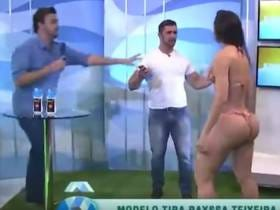 A Big-Assed Bikini Model Got Groped Twice By A Host During A Sun Tan Lotion Segment On TV, Smacked Him In The Mouth And Tore Up The Set
