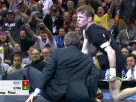 Iowa Wrestler Cory Clark Wins National Championship And Celebrates By Tossing His Coach Onto The Mat