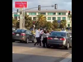 A Couple Got Out Of Their Car To Start A Road Rage Fight But A Couple In The Other Car Finished It