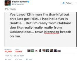 Marshawn Lynch Announces He Is Back With The Perfect Marshawn Lynch Tweet