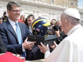Jim Harbaugh Meets The Pope, Gives Him Jordans And A Michigan Helmet