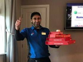 Hero Delivery Guy Brings Pizza Upstairs To A Very Hungover Customer