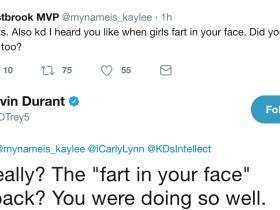 KD Has Spent Tonight Arguing With A Girl About If He Likes To Be Farted On