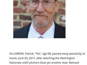 According To His Obituary, The Nats Bullpen Blowing Leads Literally Killed This Man