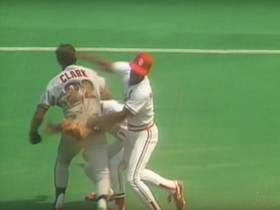 Wake Up With Will Clark Cleaning Out Jose Oquendo At Second Base And Starting A Brawl (1988)