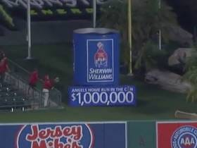 Justin Upton Won $1 Million For Charity By Hitting A Home Run Into A Giant Paint Bucket But It Doesn't Count Because The Ball Bounced First