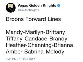 The Vegas Golden Knights Got Their First Dose Of Angry Hockey Twitter After Tweeting Out Girls Names As The Bruins Lines Tonight