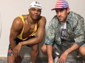 Russell Westbrook And Nick Collison Dressed Up As Sidney And Billy From