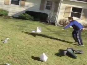 Is This A Funny Video Of A Kid Chasing His Homework Getting Blown Away Or The Worst Laugh Ever Recorded?