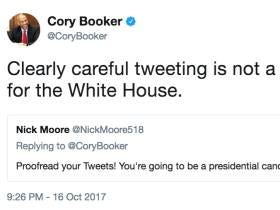2020 Democratic Presidential Contender Cory Booker Takes A Shot At Trump On Twitter