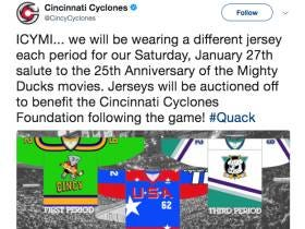 In What Appears To Be The Best Jersey Promotion Ever, The Cincinnati Cyclones Will Wear 3 Mighty Ducks Inspired Uniforms In 1 Game