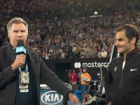 Will Ferrell Came on the Court Last Night To Interview Roger Federer and Of Course Fed Crushed It