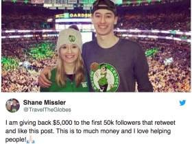 The 20 Year Old Who Just Won the Lottery Promises $5000 for Every Retweet, Goes Viral For It, And SHOCKER It Turns Out To Be a Fake Account