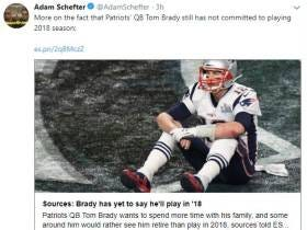 ESPN Reports That Everybody Associated With Tom Brady Says He Is Definitely Playing Next Year But If He Is Hit By A Meteor He May Not Play...GASP