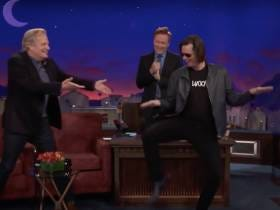 Last Night Jim Carrey Crashed Jeff Daniels' Conan Interview For A Dumb & Dumber Reunion And It Was Absolutely Hilarious