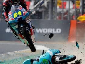 Holy Shitballs: Moto3 Racer Avoids Disaster With Incredible Jump