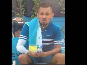 Nick Kyrgios Decided To Have a Quick Water Bottle Jerk-Off Sesh Before His Match Today