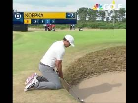 Brooks Koepka Trying (And Failing, Twice) To Get Out Of A Bunker From His Knees Is Why They Play The British Open